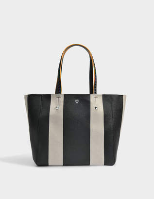 MCM Shopper Bag in Black Limonta Bonded Canvas