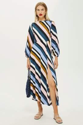 Topshop Striped Open Back Dress