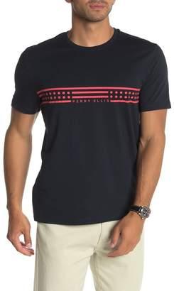 Perry Ellis Short Sleeve Chest Stripe Brand Logo T-Shirt