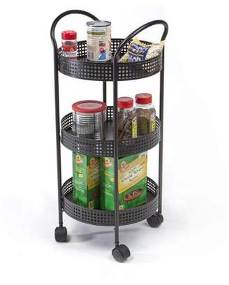 Mind Reader 3 Tier Metal All Purpose Kitchen Cart with Wheels, Black