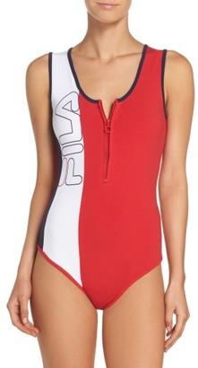 Women's Fila Viviana Quarter Zip Bodysuit $60 thestylecure.com