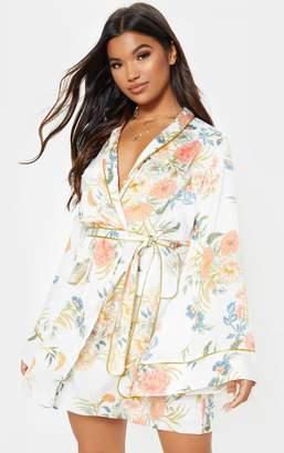 7c1cd7d9e07c PrettyLittleThing White Oriental Print Kimono Dress