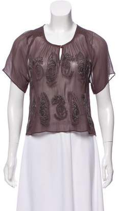 Walter Baker Sheer Embroidered Top