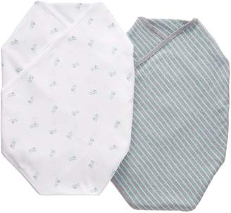 "Carter's Fox & Stripe"" 2-Pack Swaddle Blankets - mint/gray, one"