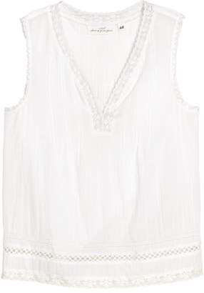 H&M Crinkled Cotton Top - White