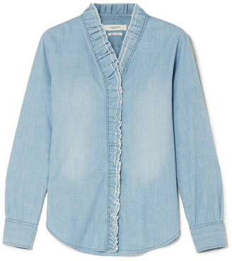Etoile Isabel Marant Lawendy Ruffled Chambray Blouse - Light denim