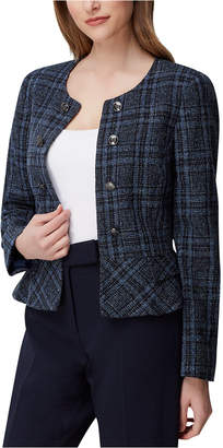 Tahari ASL Plaid Tweed Peplum Jacket