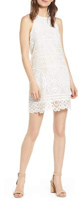 Bishop + Young Love in White Crochet Sleeveless Cotton Shift Dress