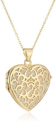 BEIGE Sterling Silver Tone Plated Italian Heart Shaped Locket Necklace