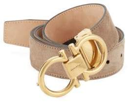 Salvatore Ferragamo Adjustable Suede Gancini Buckle Belt