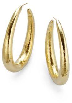 "Ippolita 18K Yellow Gold Long Hoop Earrings/2.5"""