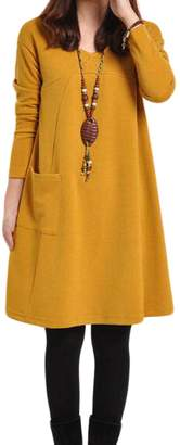 Zuvebamyo Women Dresses Linen Vintage Long Sleeve Swing Shift Dress With Pockets XS