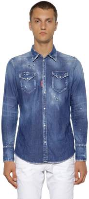 DSQUARED2 Distressed Cotton Denim Western Shirt