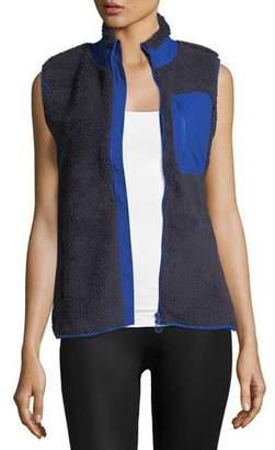 Tory Sport Sherpa Zip-Front Fleece Vest