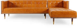 Mid-Century MODERN 808 Home Leather Right Sectional Box Sofa