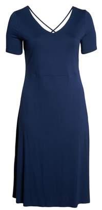 Vince Camuto Cross Back Jersey A-Line Dress