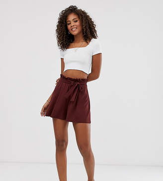 Asos Tall DESIGN Tall shorts with paperbag waist and tie