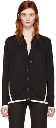 Lanvin Black Wool Contrast Cardigan $1,155 thestylecure.com