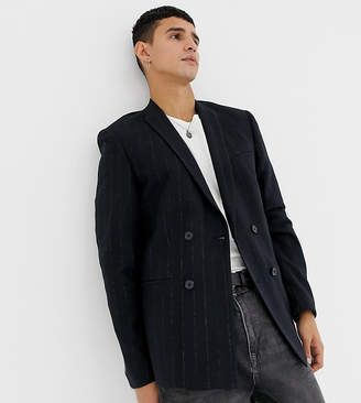 Noak slim fit harris tweed blazer jacket in navy
