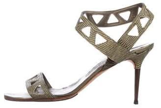 Manolo Blahnik Embossed Mid-Heel Sandals Olive Embossed Mid-Heel Sandals