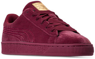 Puma Big Girls' Basket Classic Velour Casual Sneakers from Finish Line