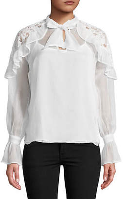 Buffalo David Bitton Ruffle Lace Keyhole Blouse