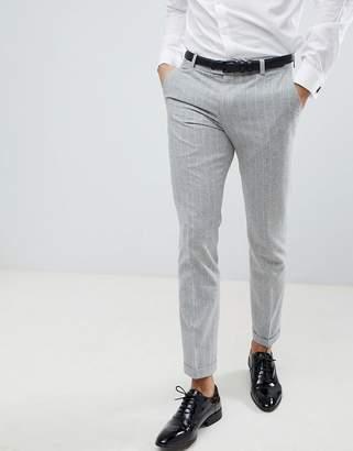 Next Skinny Fit Suit Pants In Grey Stripe