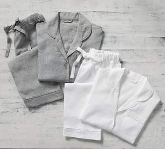 Pottery Barn Belgian Flax Linen Piped Pajamas