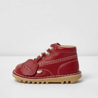 Kickers Mini kids red lace-up boots