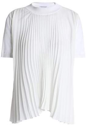 Vionnet Pleated Crepe De Chine-Paneled Silk-Blend Top