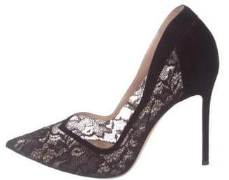 Gianvito Rossi Lace Pointed-Toe Pumps