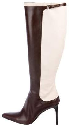 Ralph Lauren Leather & Canvas Knee-High Boots