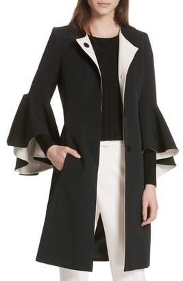 Milly Selena Ruffle Sleeve Coat