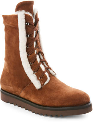 Aquatalia by Marvin K Chestnut Payton Real Fur Lace-Up Boots