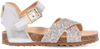 Ocra Glittered Metallic Leather Sandals