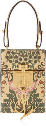 Oscar de la Renta Alibi Gold-Tone Printed Leather Box Clutch