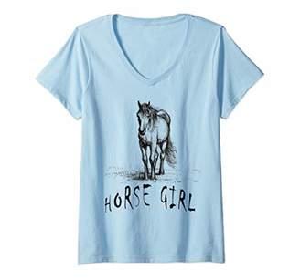 Womens Horse Girl Love Horses Riding Gifts V-Neck T-Shirt