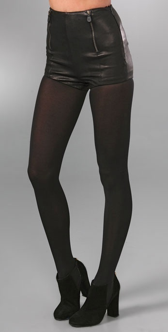 Mcq - Alexander Mcqueen Stretch Leather Shorts