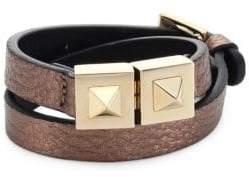 Valentino Two-Stud Metallic Leather Wrap Bracelet