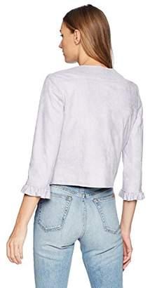 Nanette Lepore Nanette Women's 3/4 Sleeve Ruffle Hem Distressed Suede Jacket