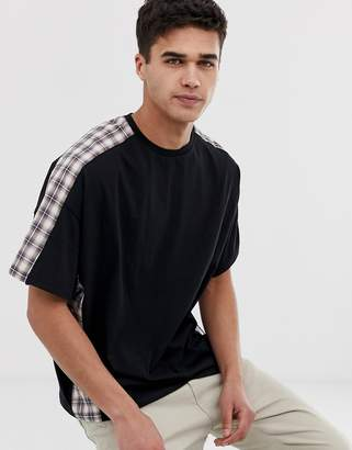 Asos Design DESIGN oversized t-shirt with woven check cut & sew panels