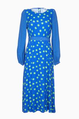 Next Womens Ghost London Blue Emily Spot Print Crepe Dress