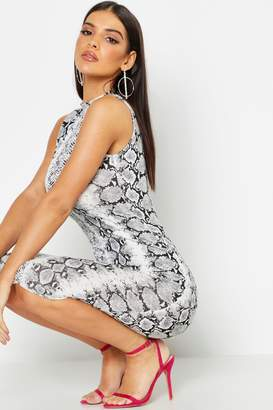 boohoo Snake Print Sleeveless Bodycon Midi Dress