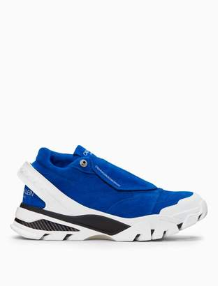 Calvin Klein covered lace-up athletic sneaker with suede + nylon