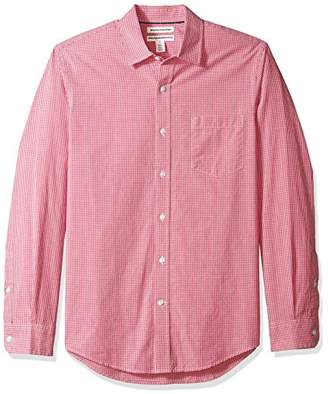 Amazon Essentials Men's Slim-Fit Long-Sleeve Gingham Shirt