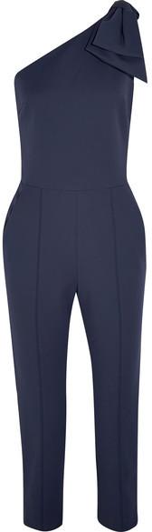 MSGM - Bow-embellished One-shoulder Cotton-blend Jumpsuit - Navy