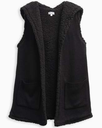 Splendid Girl Hooded Sherpa Vest Black