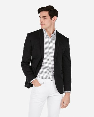 Express Slim Black Shawl Collar Cotton Performance Stretch Tuxedo Jacket