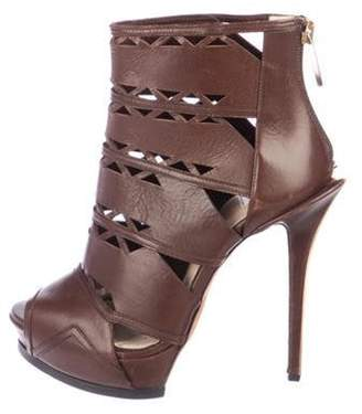 Herve Leger Leather Laser-Cut Boots Brown Leather Laser-Cut Boots