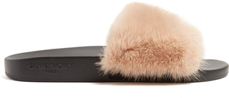 GIVENCHY Mink-fur and rubber slides $595 thestylecure.com